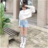 愛迪達 Adidas 三葉草 女短版T桖DH4674 中空長袖大學T 三線三槓圓領上衣 女裝運動T桖/澤米