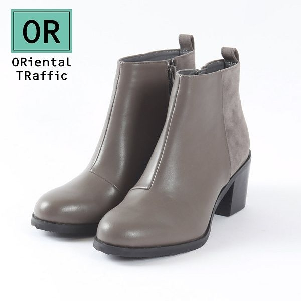 【ORiental TRaffic】時髦異材拼接高跟短靴-時髦灰