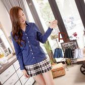 長袖襯衫--優雅修身剪裁排釦抓皺設計V領長袖襯衫(白.黑.藍S-3L)--I74眼圈熊中大尺碼