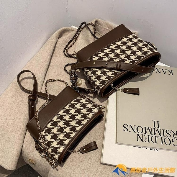 時尚水桶包爆款小包包女高級鏈條包質感單肩斜挎包【勇敢者戶外】