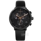 CK / K8M274CB / 紳士簡約 三眼計時 日期 夜光 瑞士製造 皮革手錶 黑色 43mm