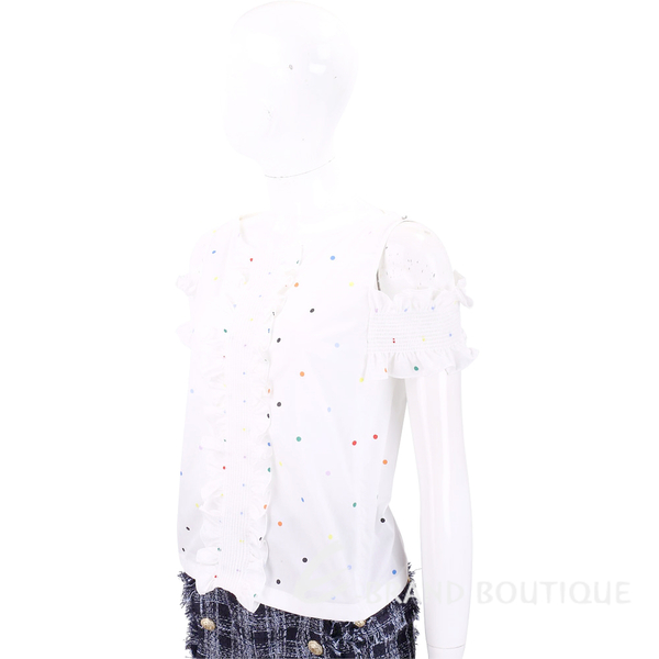Max Mara-SPORTMAX 多彩點點皺褶荷葉白色露肩短袖上衣 1830131-20