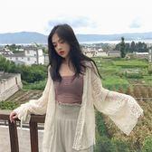 夏裝2018新款女慵懶鏤空蕾絲燈籠袖上衣氣質純色顯瘦開衫防曬衣
