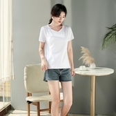 短袖T恤 白色t恤女短袖寬鬆V領2020新款打底衫女黑色雞心領夏裝純棉上衣丅