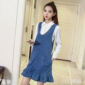 中大尺碼 牛仔洋裝連身裙韓版夏純色背帶裙俏皮魚尾裙女 nm4620 【VIKI菈菈】