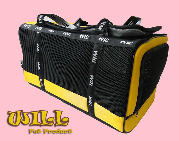 WILL設計+寵物用品*最新黑網系列*超透氣 寵物 提籃 / 袋 / 外出包☆中型犬愛用☆黑網x黃
