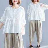 大碼襯衫 不規則薄款燈籠袖棉麻襯衣夏2019新款圓領寬鬆減齡純色蝙蝠娃娃衫