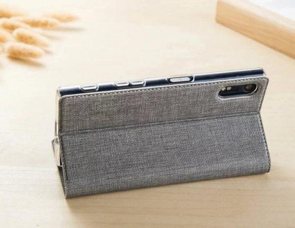 簡約皮套 索尼 Xperia XZS 手機殼 防摔 支架 插卡 隱形磁吸 Sony XZS 手機套 十字紋 全包邊 側翻皮套