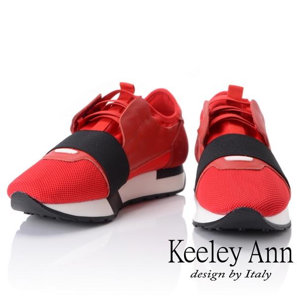 2018秋冬_Keeley Ann個性玩酷~科技感繃帶懶人運動休閒鞋(紅色) -Ann系列