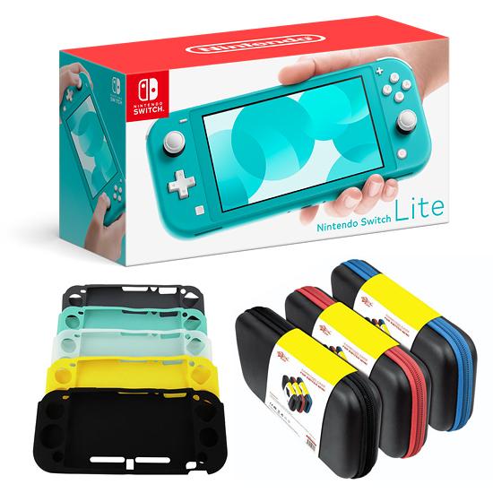 [哈GAME族]超值簡配組 免運費●主機+保護貼+果凍套+收納包●Nintendo Switch Lite 藍色 攜帶縮小版