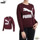 Puma 女款 酒紅 長袖 上衣 大學T 棉 長T 流行系列 長厚 T恤 長袖 57760922