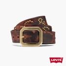 Levis 男款 MIJ日本製真皮皮帶 / 日本職人精工作舊工藝 / 幾何金屬釦