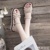 沙灘涼鞋女夏季百搭超火仙女風時尚羅馬平底鞋潮   歌莉婭