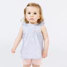 短袖套裝 Dave Bella 小童 大童 淺藍粉圓點無袖上衣+粉色短褲 套裝2件組 DBM7593
