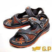 【G.P】彈力氣墊時尚休閒涼鞋 男款-橘(另有藍)