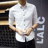 短袖襯衫男夏季亞麻七分袖男士修身青年素色潮流中袖五分白色半 愛麗絲精品