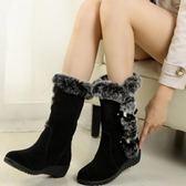中筒雪靴-時尚氣質甜美百搭女高跟靴子2色73kg17[巴黎精品]