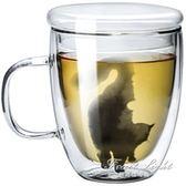 馬克杯 手工雙層玻璃杯貓咪杯子辦公咖啡杯女用貓杯藝術茶水杯 果果輕時尚