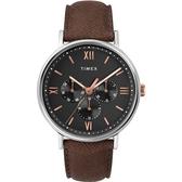 TIMEX 天美時 玫瑰金羅馬字時標三眼黑色皮帶錶 41mm 星期日期顯示 TXTW2T35000 公司貨 | 名人鐘錶