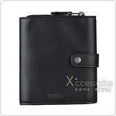 COACH 壓印LOGO 牛皮5卡三折釦式卡片零錢包(黑)
