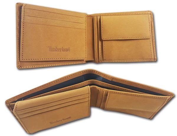 【Timberland】麂皮牛皮夾 零錢袋多卡夾+鑰匙圈套組 品牌盒裝/黃駝色