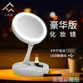 化妝鏡【鏡燈兩用抖音折疊化妝鏡】MINI系列雙面高清日光鏡LED雙功能版愛麗絲精品