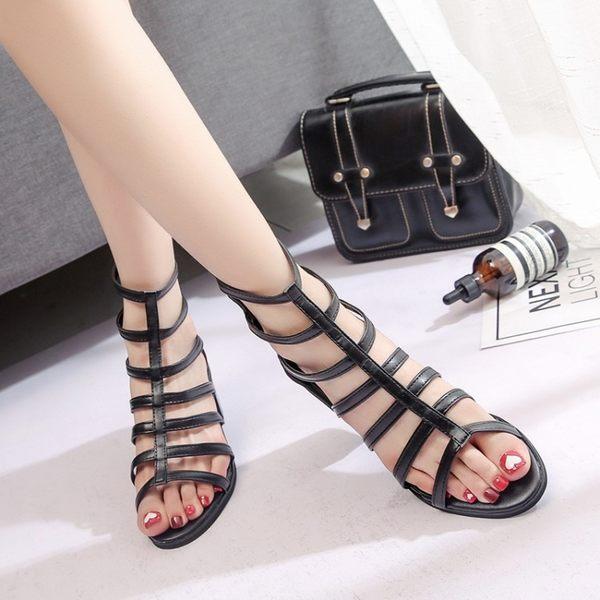 夏季中筒涼靴露趾涼鞋高筒羅馬鞋鏤空透氣粗跟中高跟女鞋 街頭布衣