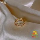 雙層戒指女日系輕奢時尚冷淡風簡約食指指環【樂淘淘】