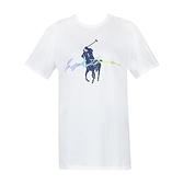 【南紡購物中心】Ralph Lauren 水彩簽字大馬圓領短袖T恤-白