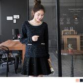 OB嚴選《DA2987-》假兩件式配色亮片金蔥點綴仿毛料洋裝.2色--適 S~XL