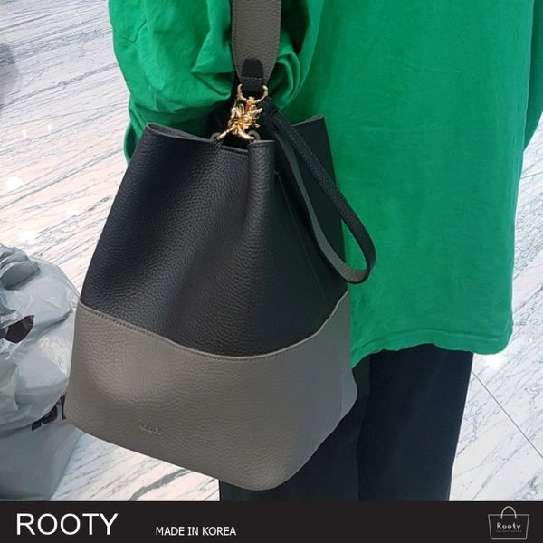 正韓 Rooty 拼接色皮革水桶包 手提托特肩背側背包 NO.R454【韓國直送】