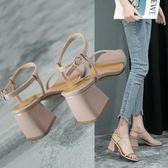 粗跟涼鞋ins超火潮夏季新款百搭韓版一字扣性感方頭粗跟高跟鞋涼鞋女 秘密盒子