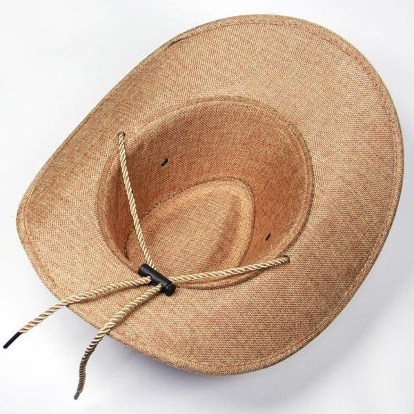 紳士帽 美國西部牛仔帽 男士夏天防曬戶外遮陽 爵士百搭夏季出游釣魚帽子 麻吉部落