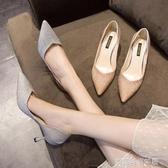 高跟鞋 單鞋新款新娘伴娘鞋子網紅百搭亮片尖頭香檳色性感細跟高跟鞋 夢露時尚女裝