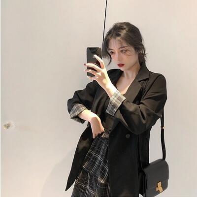 秋季新款韓版網紅格子休閒小西裝外套女寬鬆氣質西服上衣薄款 聖誕節全館免運