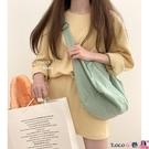 熱賣帆布包 YOHOO!/韓風chic慵懶休閒簡約百搭純色單肩斜背包包帆布書包女ins coco