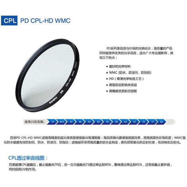 ◎相機專家◎ BENRO 百諾 37mm PD CPL-HD WMC 薄框防刮防撥水抗油汙多層膜環型偏光鏡 勝興公司貨