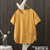 棉麻上衣2021   女士棉麻t 恤上衣短袖寬鬆半袖純棉文藝復古民族風潮曼慕