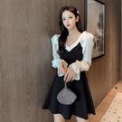 VK精品服飾 韓國風名媛黑白撞色優雅氣質荷葉袖長袖洋裝