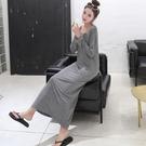 莫代爾洋裝 夏秋正韓莫代爾長袖長裙女裙子百搭打底裙圓領寬鬆連身裙大碼-Ballet朵朵