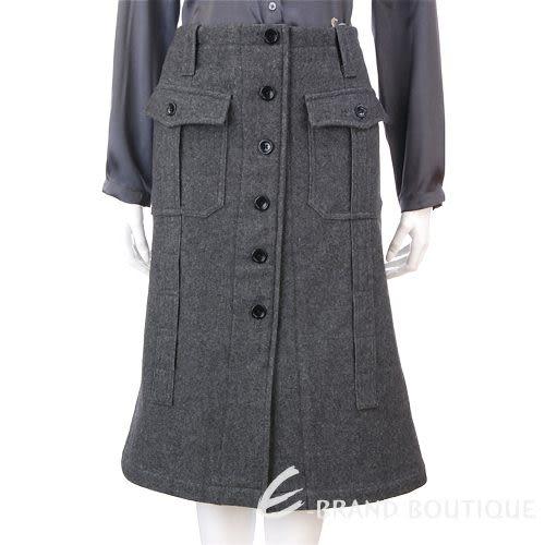 HACHE 灰色排釦造型毛料及膝裙 0590031-06