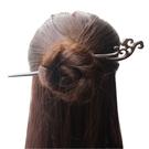 髮簪 髮飾中國風黑檀木簪子發簪天然手工古風盤發釵子荷花蓮葉頭髮飾品 母親節禮品