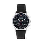 【SWISS MILITARY HANOWA】PATRIOT瑞士錶三眼日期真皮錶-時尚黑/SM10105JW1273B/台灣總代理公司貨享兩年保固