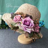 旅行沙灘遮陽帽女三朵玫瑰夏小清新文藝潮時尚可折疊 愛麗絲精品