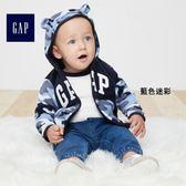 Gap男嬰兒 LOGO小動物圖案刷毛連帽長袖休閒外套 348443-藍色迷彩