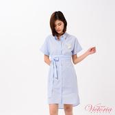 Victoria 落肩長版洋裝式短袖襯衫/附腰帶-女-V75079