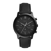 【Fossil】Neutra黑潮來襲時尚真皮摩登腕錶-極致黑/FS5503/台灣總代理公司貨享兩年保固
