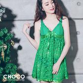 維納斯情挑‧蕾絲柔紗連身性感睡衣(綠色)  Free Size Choco Shop