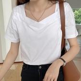 純棉T恤 白色t恤女正韓寬鬆方領純棉短袖純色u領上衣女-Ballet朵朵