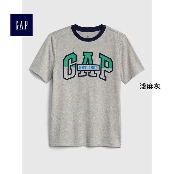 Gap男童 Logo短袖圓領T恤 399052-淺麻灰